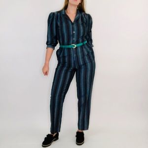 Vintage Hippie Psychedelic Striped Collar Jumpsuit